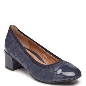 Vionic Ruby Quilt Patent Shoes Navy Blue 8 1/2 HOT